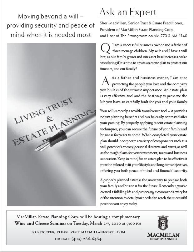 Moving beyond a Will: Providing Security & Peace-of-Mind when Needed the Most